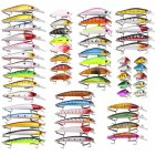 56 Pcs Mixed Fishing Lure Bait Set Kit Wobbler Crankbait Swimbait With Treble Hook Sea Fishing Tools  Opp bag packaging_56/fish bait set