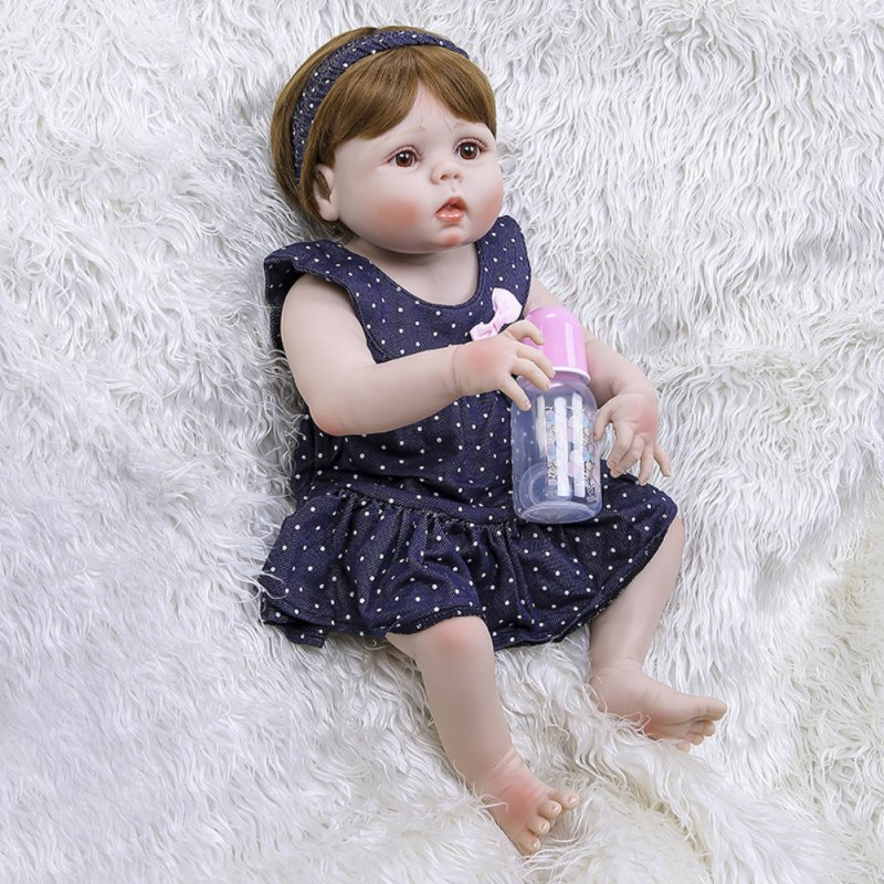 56CM Simulate Soft Silicone Doll Limb Movable Bath Toy for Baby Toddler Girl Blue eyes
