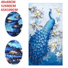 5D Peacock Diamond Embroidery Full Rhinestone Cross Stitch Painting Home Hotel Decoration Gift  Blue without Frame  40X60CM