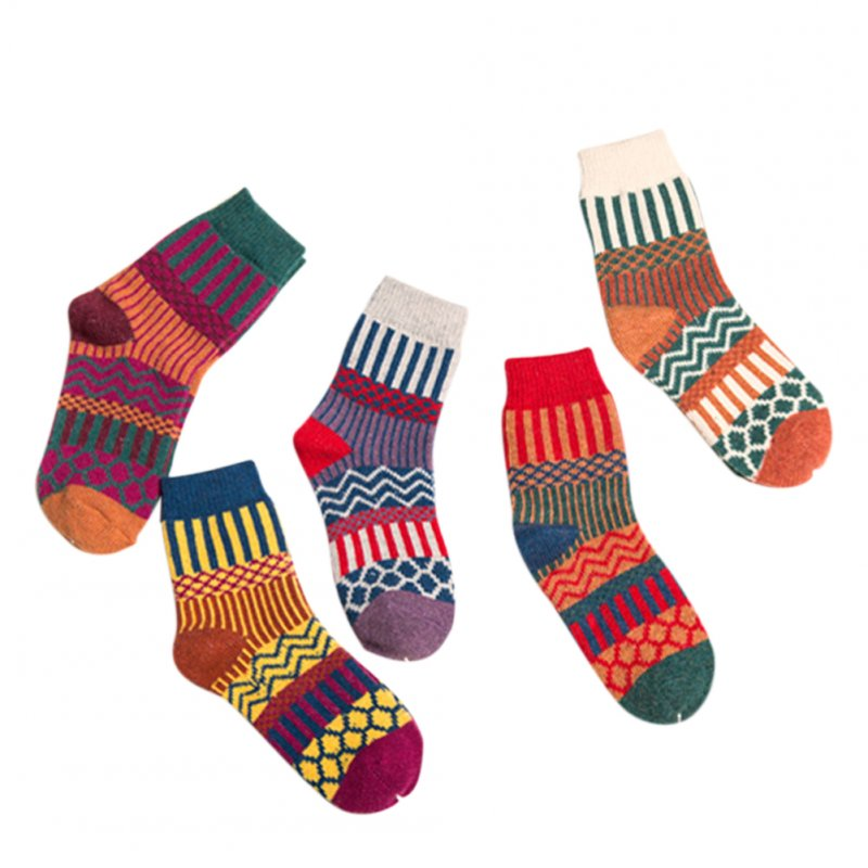 5PCS Woman Thickened Warm Ethnic Style Socks for Autumn Winter Gift Mixed colors_free size