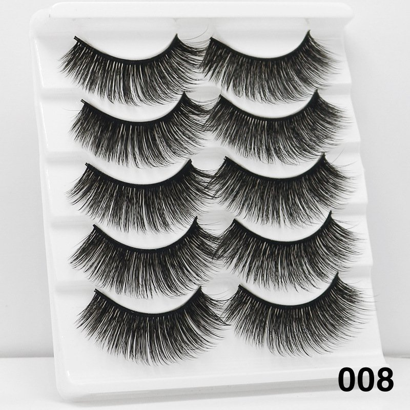 5Pairs 6D Mink Hair False Eyelashes Wispy Makeup Beauty Extension Tools 008