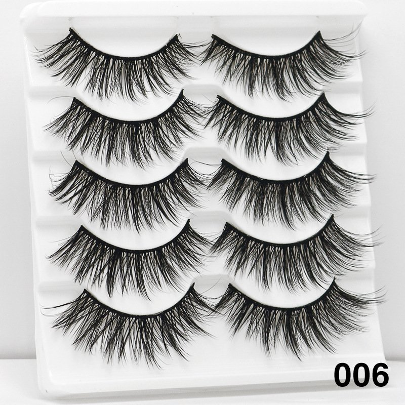 5Pairs 6D Mink Hair False Eyelashes Wispy Makeup Beauty Extension Tools 006