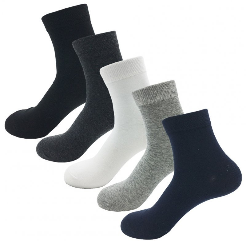 5Pairs Men Soft Mid-calf Length Socks Casual Business Cotton Socks Color mixing_One size