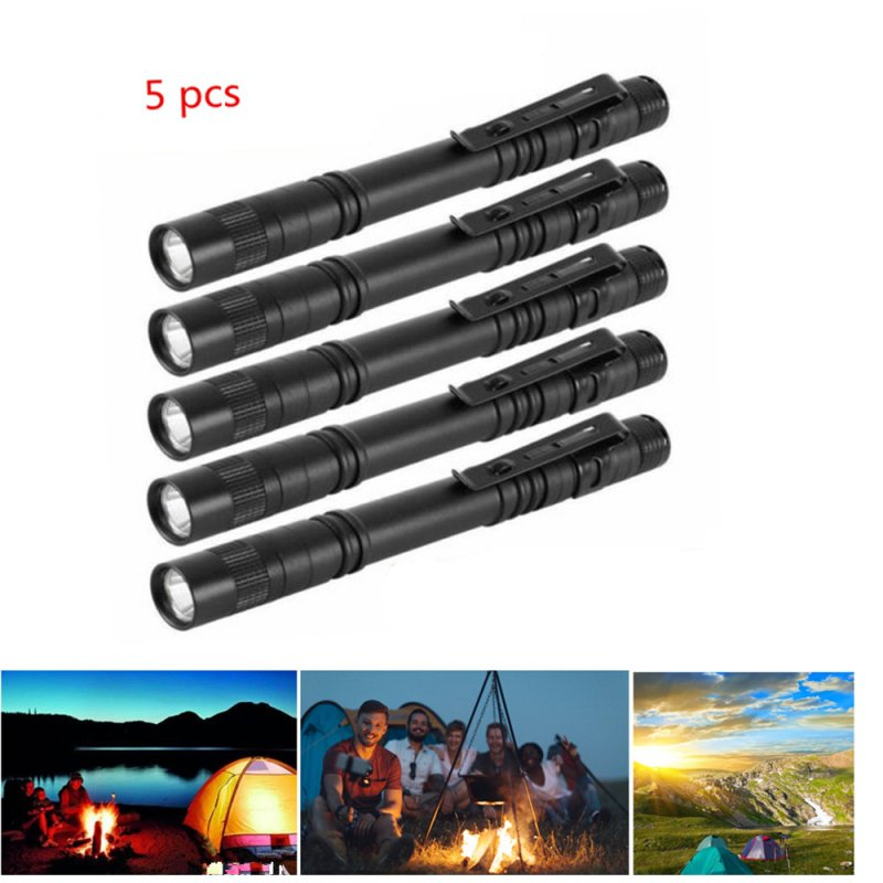 5Pcs/1Pc Mini Waterproof Aluminium Alloy Pen Shape Flashlight with Clip 5 flashlights 2 knots (no ordinary 7th battery is not included)