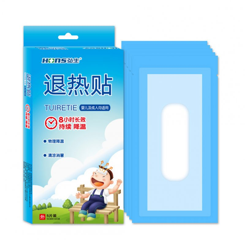 5Pcs Cooling Patch Down Fever Ice Medical Plaster Anti Hot Hydrogel Essential Patches 5*12cm 5 pieces / box