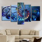 5Pcs Peacock Pattern Canvas Art Decor