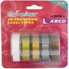 5Pcs/Set Adhesive  Tape  Set 3d Plastic 9mm Embossing Label Maker Waterproof Strong Adhensiveness 9mm (d combination)