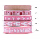 5Pcs/Set Christmas Printing Ribbon Gift Packing Decoration Diy Ribbons Roll Pink-C