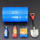 5Pcs/Set RC Rock Crawler 1:10 Accessories Oil Drum Fuel Tank Fire Extinguisher Shovel for Axial SCX10 TAMIYA CC01 RC4WD D90 D110 TF2 RC Car  blue
