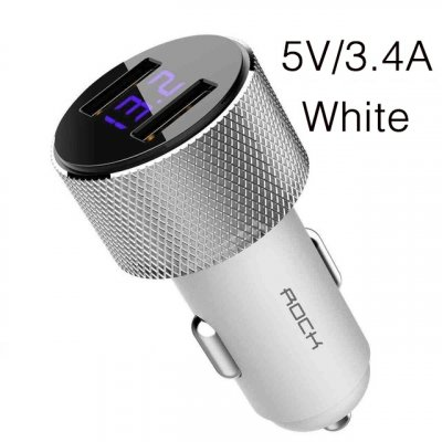 ROCK Mini Dual USB Car Charger LED Display Universal 3.4A Mobile Phone Tablet Fast Charging Usb Charger for Car 2 Usb Adapter white