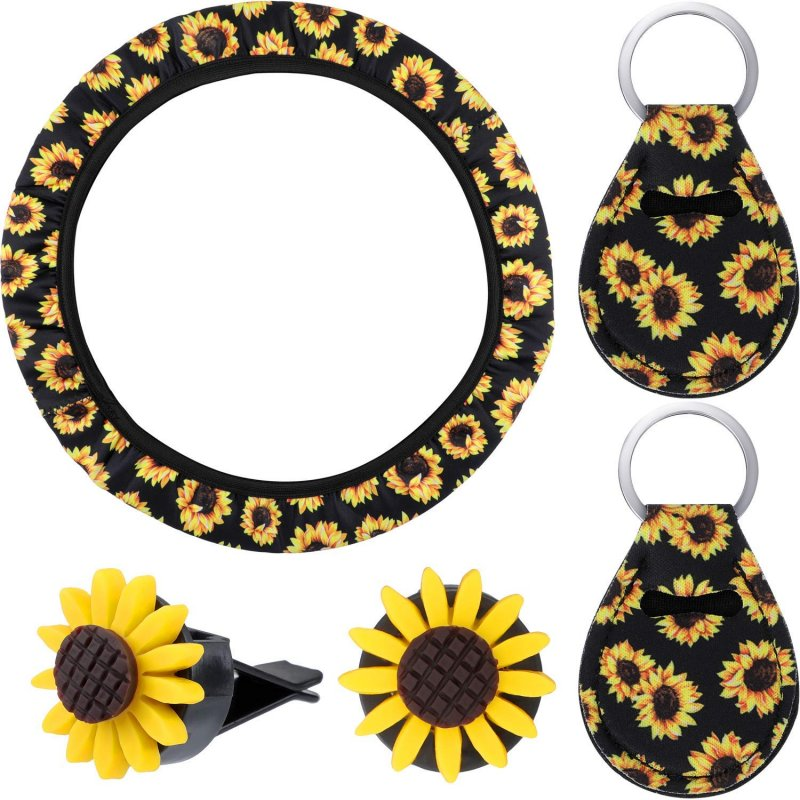 5pcs Car Accessories Sunflower Steering Wheel Cover with 2 Pieces Cute Sunflowers Keyring 2 Piece Car Vent Sunflowers
