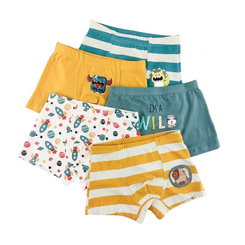 5pcs Kids Underwears Boy Pure Cotton Breathable Stripe Fashion Boxer Briefs As shown