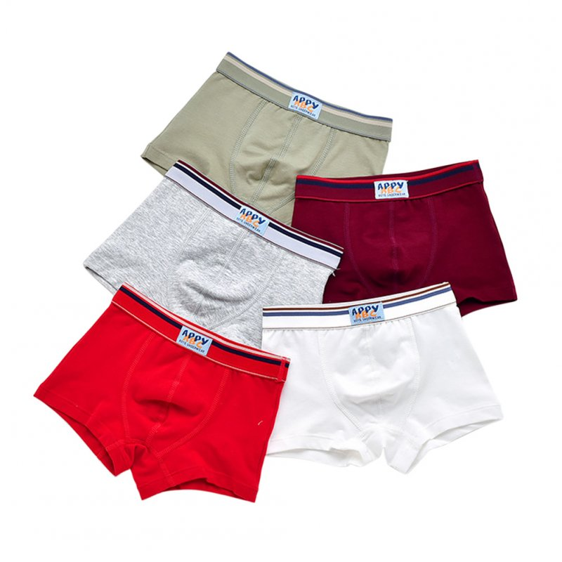 5pcs Kids Underwears Boy Pure Cotton Breathable  Soild Color Boxer Briefs As shown