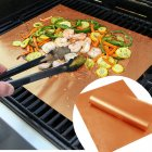 5pcs/Set Reusable BBQ Grill Mats Non-Stick Barbecue Baking Pad Sheets Bakeware Cooking Tool For Outdoor Picnic Golden