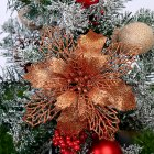 5pcs/set Christmas Decoration Christmas Celebration Hollow Out Glitter Powder Flower Wreath Garland Decor Pendant Bronze