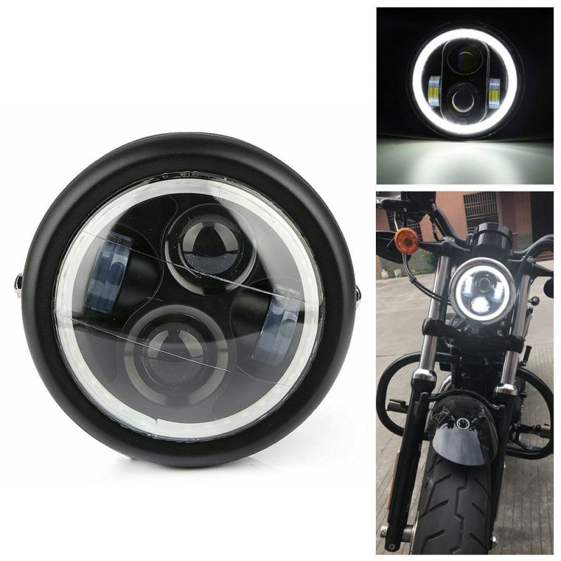 6.5 inches Motorcycle LED Headlight HeadLamp Bulb With Angel Ring for  Sportster Cafe Racer Bobber Iron 883 black