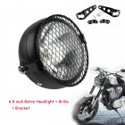 6 5 inches Retro Motorcycle LED Headlight Grill Side Mount Cover with Bracket black