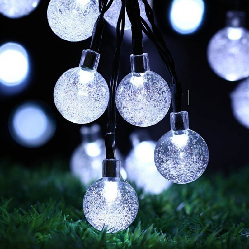 6.5M 30LED Solar-powered Bubble String Lights Night Light Garden Home Party Bar Decoration white