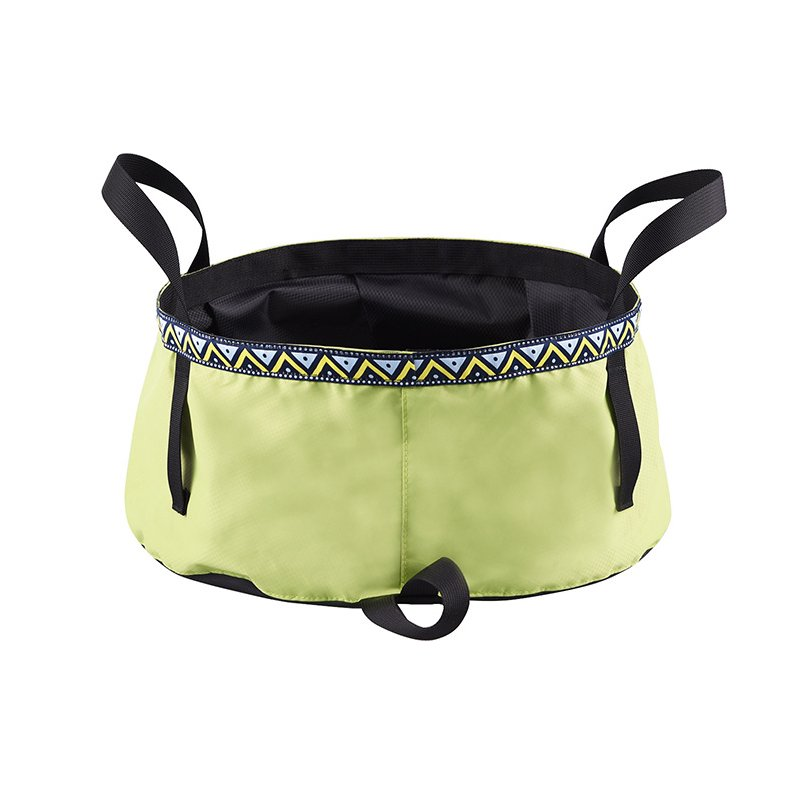 6/8/12L Folding Washing Basin 8.5L Outdoor Hiking Camping Bucket Portable Water Pot Bean green_12L
