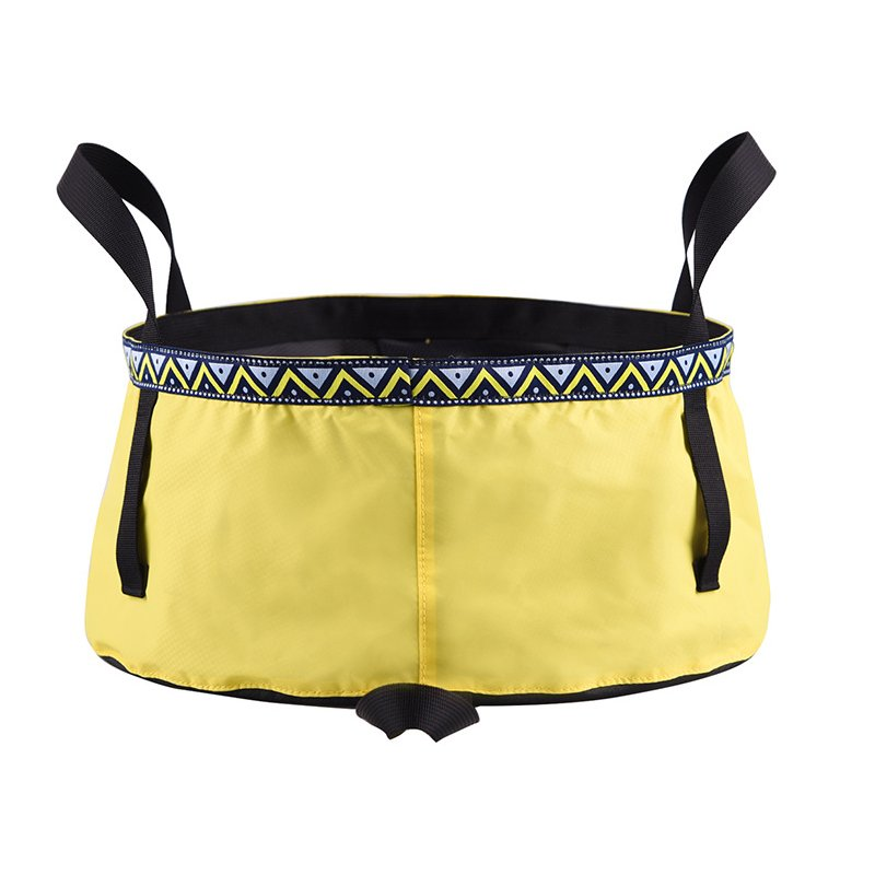 6/8/12L Folding Washing Basin 8.5L Outdoor Hiking Camping Bucket Portable Water Pot Goose yellow_12L
