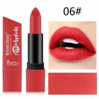 6 Color Matte Lipstick Sexy Shimmer Lipgloss Waterproof Long Lasting Diamond Party Lip Stick 06#