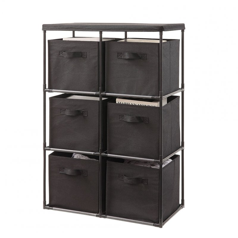 6 Drawers Home Storage Rack for Bedroom Living Room Toy Clothing Organize Shelf black