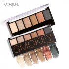 6 Earth Colors Lasting Retro Smoky Eyeshadow Palette Cosmetic Makeup Kit with Mirror and Double End Brush - 55g