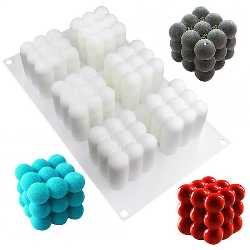 6-Hole Magic Cube Shape 3D Silicone Cake Baking Mold Chocolate Dessert Bakeware Pan for Handmade Mousse Fondant Bread Pie Flan white