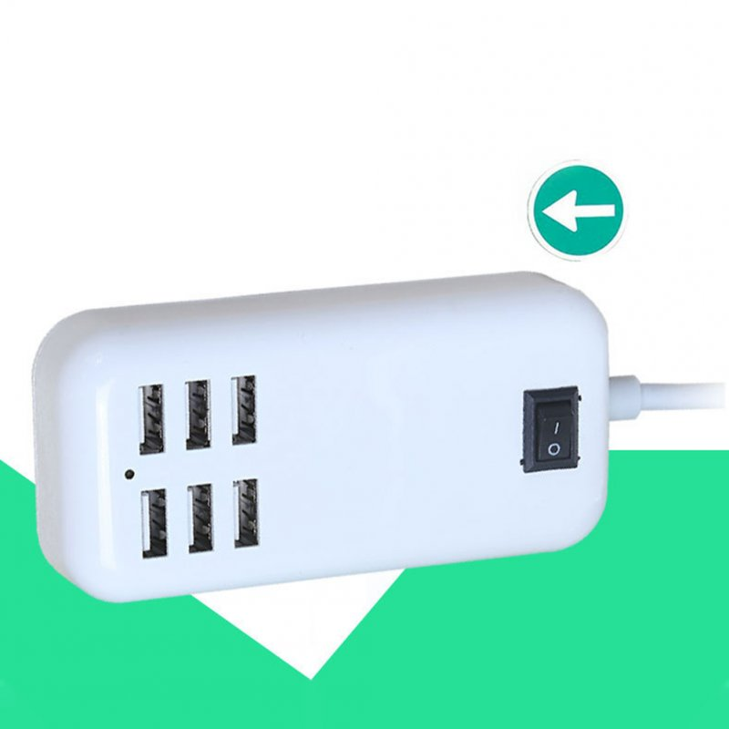 6-Outlet Cell Phone Wall Socket US Plug