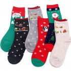 6 Pairs Women's Christmas Cartoon Casual Socks All-match Two Colors Christmas Tree Snowflakes Deodorant Breathable Long Thin Cotton Socks