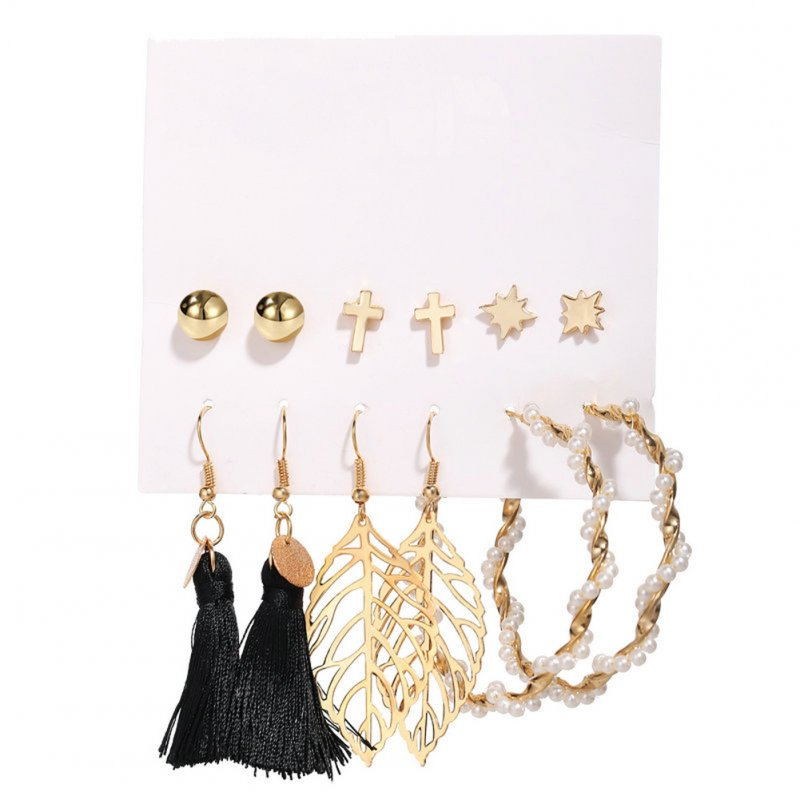 6 Pairs of Women's Earrings Hollow Leaf Faux Pearl Tassel Ear Accessories  Golden