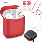 6 Pcs/Set Protective Cover for AirPods Red