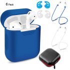 6 Pcs Set Silicone Protective Cover   Receiving box   Anti Lost Strap   Ear Cover Hooks for Apple AirPods Case Blue Color