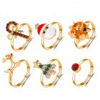 6 Pcs/set Ring Set Alloy Cartoon Christmas Tree  Shapes Opening Adjustable Ring
