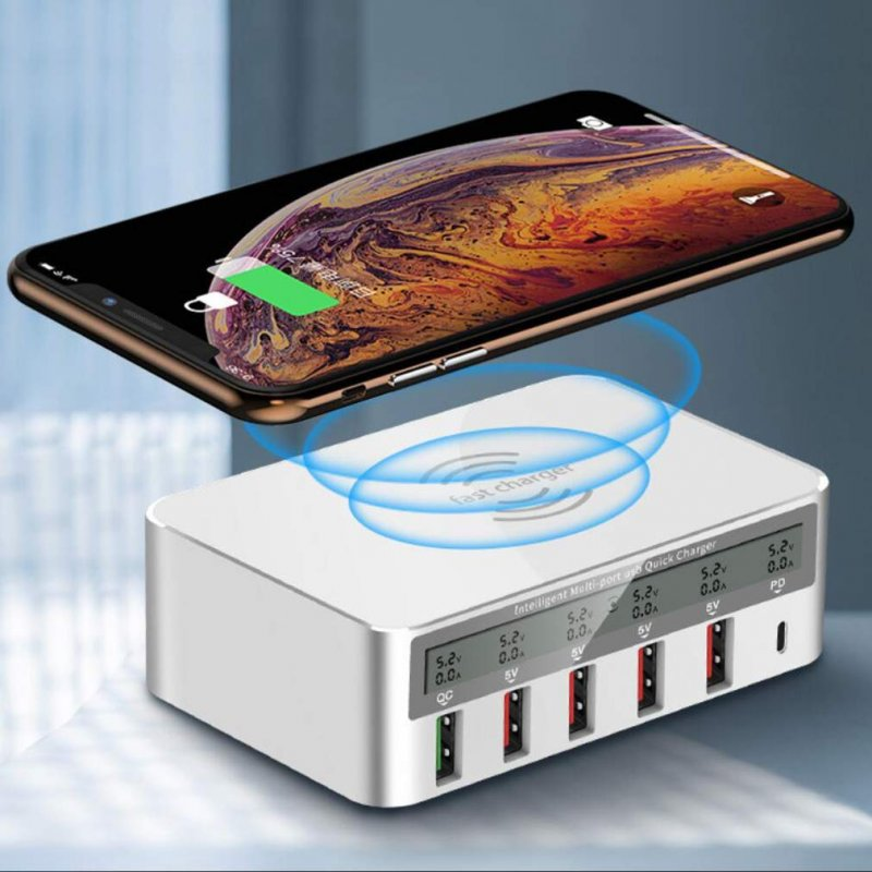 6-Port USB Smart Charger Source Adapter QC3.0 Universal Wireless Charger with Screen Digital Display  White US plug