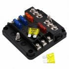 6 Way Auto Blade Fuse Box Block Holder with LED Indicator for 12V 24V Car Marine As shown