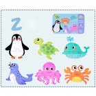 6 in 1 Kids Baby Cartoon Animal Pattern Puzzles Early Education Wood Toy Marine life