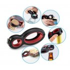 6 in 1 Multi Function Non Slip Bottle Opene Jar Gripper Kitchen Tool Black red