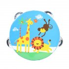 6 inch Tambourine for Children Cartoon Child-Friendly Design Popular Music Instrument for The of Rhythm and tact  Blue giraffe