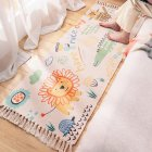 60*150cm Hand-woven Cotton Carpet Non-slip Floor Mat Living Room Bedroom Rug with Tassel 60 * 150cm