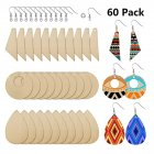 60Pcs/Set Wooden Earrings Diy Home Wedding Party Hand Painted Accessories Assembly Crafts 60pcs/set