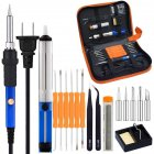 60W 110V Electric Soldering Iron Kit with Adjustable Temperature Welding Iron Tips Desoldering Pump Tweezers Tin Wire