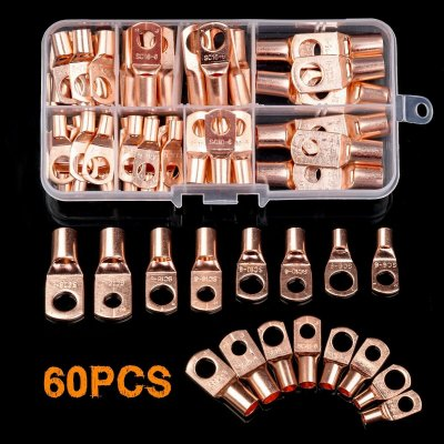 60X Assorted Car Auto Copper Ring Lug Terminal Wire Bare Cable Crimp Connectors 60-piece set