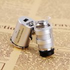 60X Mini Magnifying Loupe Jewelry Jewelers Pocket Magnifier Loop Eye Coins with Led Light 3 5 4 2CM Silver