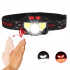 6500K Motion Induction LED XPG+COB Headlamp with Battery Indicator White light + red light