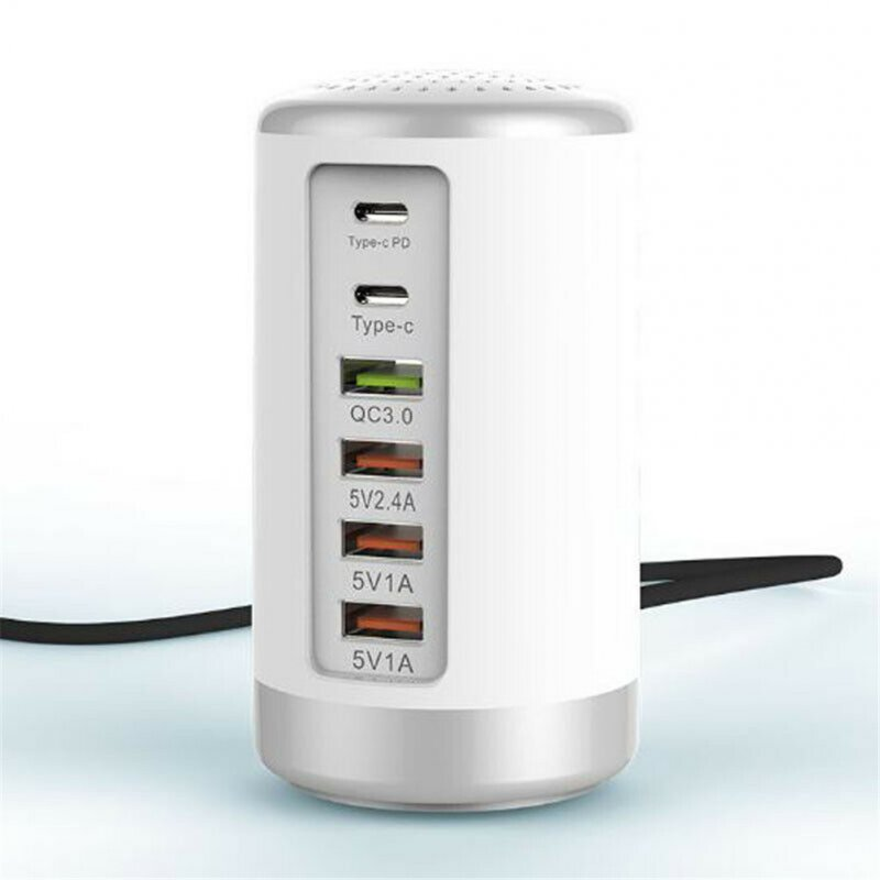 65WPD High Power Fast Charge QC3.0 + PD Fast Charge 6-port USB Smart Charger US Plug white