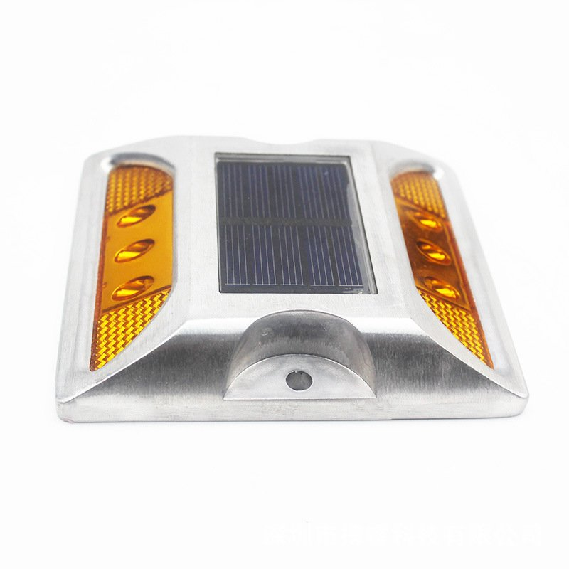 6LEDs Solar Road Stud Light Double Sided Cast Aluminum Lamp Yellow-flashing