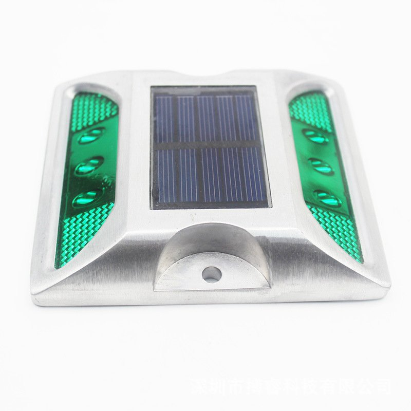 6LEDs Solar Road Stud Light Double Sided Cast Aluminum Lamp Green-flashing
