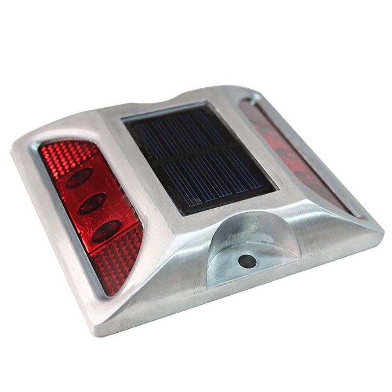 6LEDs Solar Road Stud Light Double Sided Cast Aluminum Lamp Red-flashing