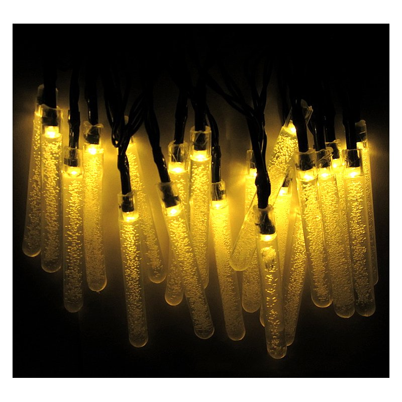 6M 30LEDs Solar Powered Bubble Icicle Hanging String Light Wedding Party Decor warm light_(ME0004502)